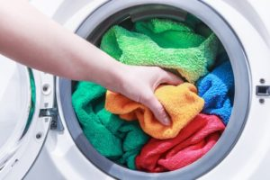 colorful towels in a washing machine